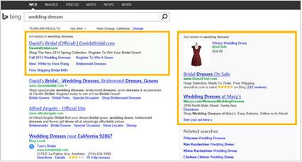 Bing广告展示位置